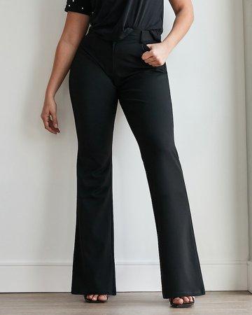 High Waisted Black Curvy Flare Pant