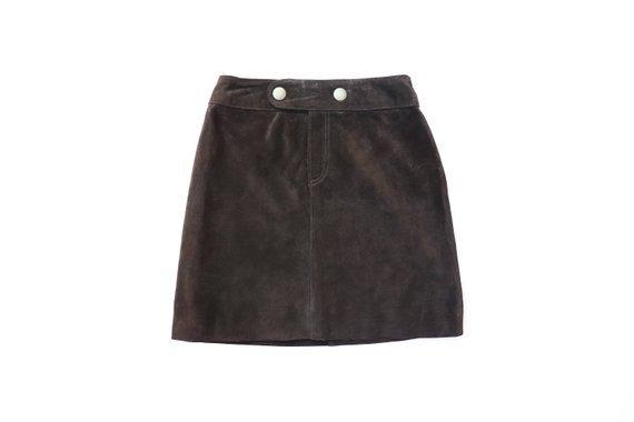 Suede Mini Skirt Mod 70s Hippie Boho 60s Mod Twiggy 1990s | Etsy