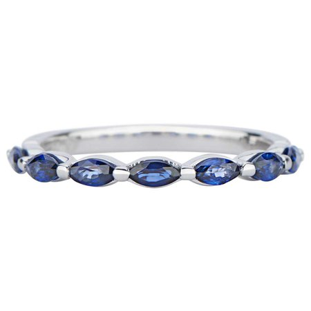 Single Prong Marquise Half Bands with Blue Sapphires in 14k White Gold by GiGi Ferranti