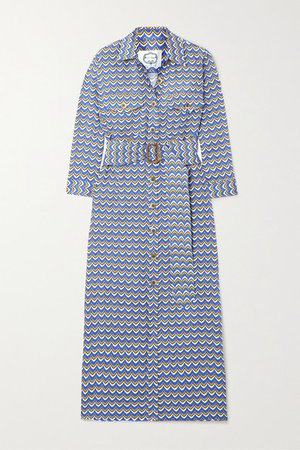 Riad Belted Printed Linen Midi Dress - Blue
