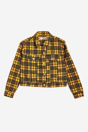 yellow plaid denim jacket