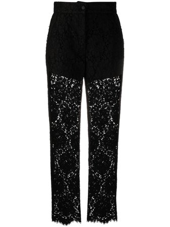 Shop Dolce & Gabbana embroidered straight-leg trousers with Express Delivery - FARFETCH