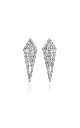 Arrow 18k White Gold Diamond Earrings By Alessa   Moda Operandi