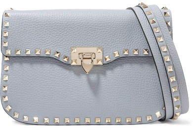 Garavani The Rockstud Textured-leather Shoulder Bag - Blue