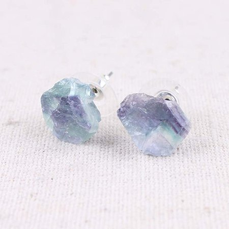 Amazon.com: Raw Natural Rainbow Fluorite Gemstone Stud Earrings: Handmade