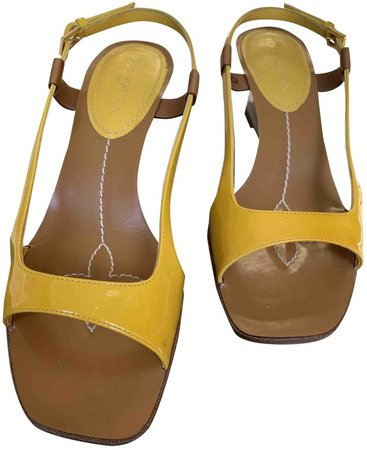 Yellow Patent leather Sandals