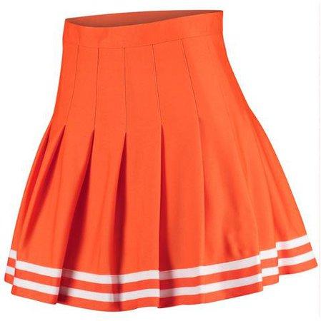 Rah Rah! | Orange Pleated Tennis Skirt W/ White Stripes