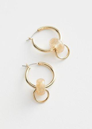 Resin Pendant Mini Hoop Earrings - Gold - Hoops - & Other Stories