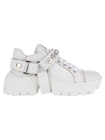 Miu Miu Low Top Sneakers With Cristals Embellishment