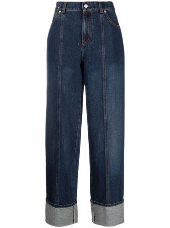 Alexander McQueen contrast-stitching wide-leg jeans - FARFETCH