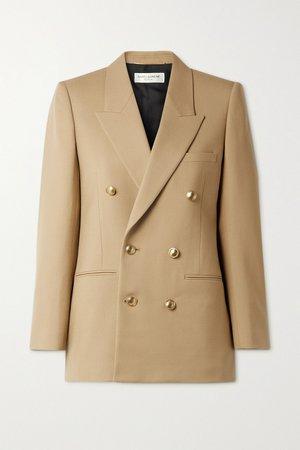 Beige Double-breasted wool-twill blazer   SAINT LAURENT   NET-A-PORTER