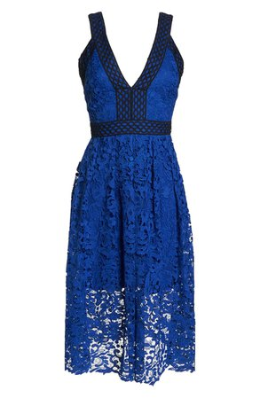 Adelyn Rae Marilyn Fit & Flare Lace Dress blue
