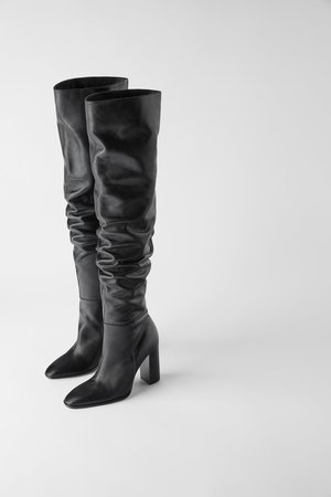 OVER THE KNEE HEELED LEATHER BOOTS-Boots-SHOES-WOMAN | ZARA United States