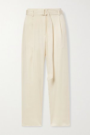 Belted Washed-satin Straight-leg Pants - Cream