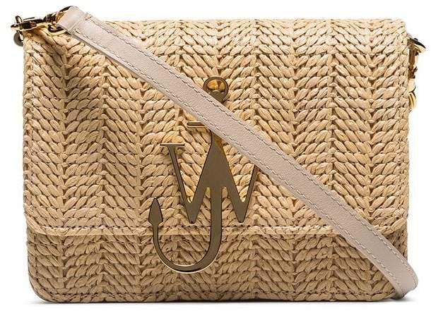 beige logo-plaque woven-straw bag