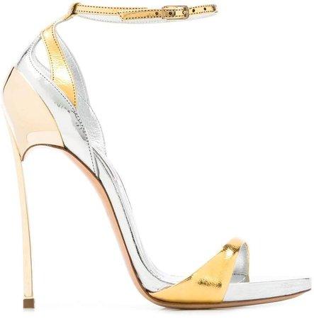 stiletto metallic sandals