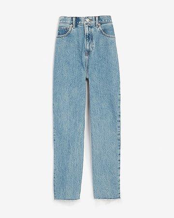 Super High Waisted Original Raw Hem Mom Jeans | Express