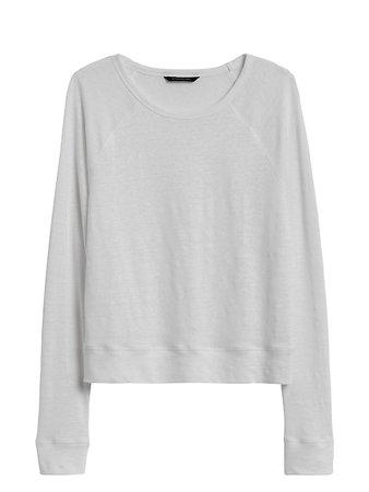 Linen Raglan Cropped T-Shirt | Banana Republic
