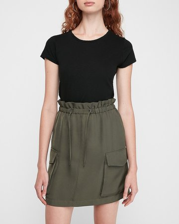 High Waisted Paperbag Cargo Skirt