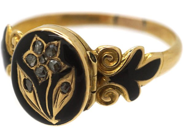 Early Victorian 15ct Gold, Black Enamel & Rose Diamond Pansy Ring with Hidden Compartment - The Antique Jewellery Company