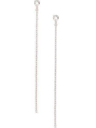 Mattia Cielo 18Kt White Gold Rugiada Tennis Diamond Drop Earrings