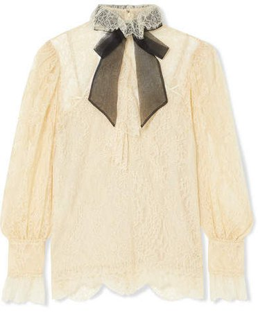 Pussy-bow Lace Blouse - Ivory