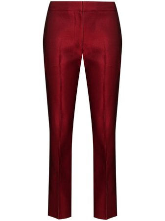 Alexander McQueen, mid-rise Cropped Silk Trousers