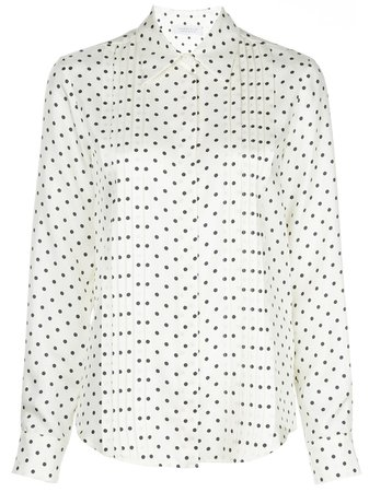 Polka-Dot Pleated Blouse