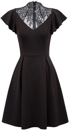 Women's Vintage Ruffle Cap Sleeve A Line Swing Cocktail Party Dress (S, Black) at Amazon Women's Clothing store