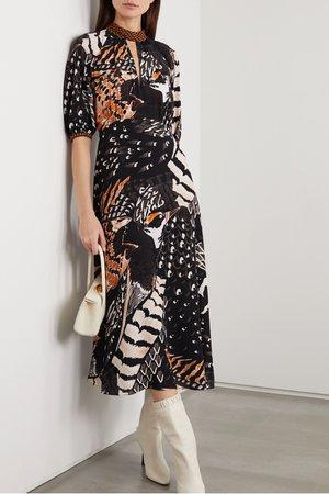 Black Rosella printed crepe midi dress | Temperley London | NET-A-PORTER