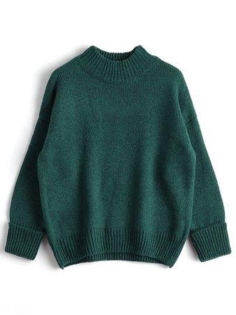 [37% OFF] 2019 Loose Heathered Mock Neck Sweater In GREEN | ZAFUL