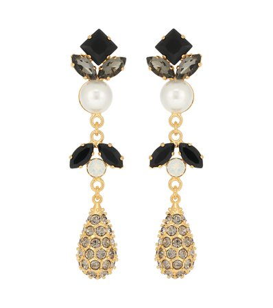 Erdem, Crystal-embellished faux pearl drop earrings