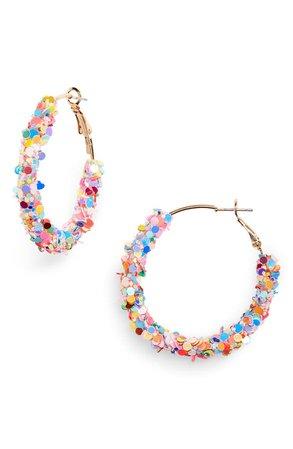 BP. Multicolor Sequin Mini Hoop Earrings | Nordstrom