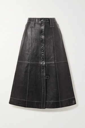 Topstitched Leather Midi Skirt - Black