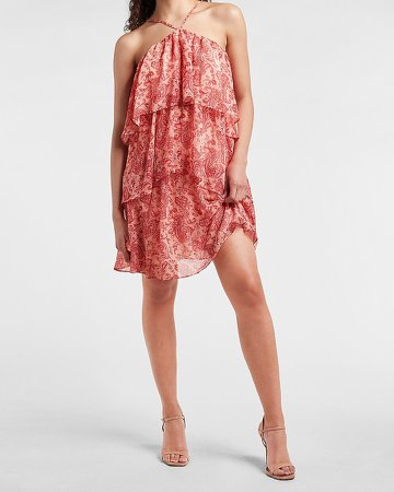 Paisley Tiered Trapeze Halter Dress