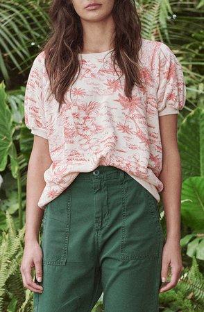The Short Sleeve Puff Tropical Print Sweatshirt