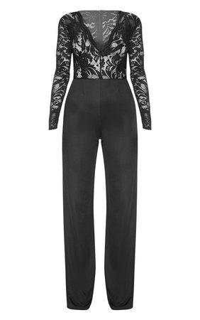 Black Long Sleeve Plunge Jumpsuit | PrettyLittleThing