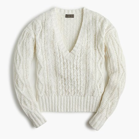 J.Crew: Point Sur Cable-knit V-neck Sweater ivory