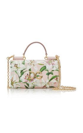 Floral-Print Textured-Leather Bag by Dolce & Gabbana | Moda Operandi
