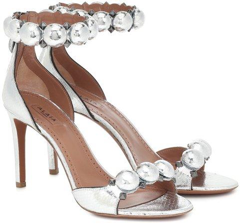 Bombe embellished snakeskin sandals