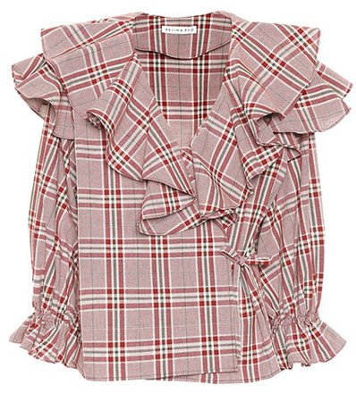 Plaid cotton wrap top