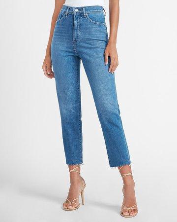 Super High Waisted Raw Hem Mom Jeans