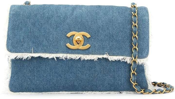 Pre-Owned fringed denim shoulder bag