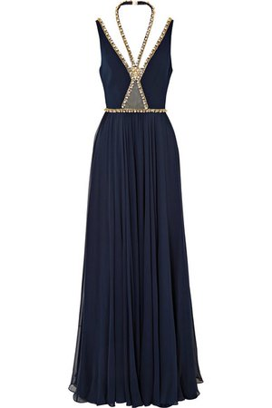 Jenny Packham   embellished crepe and silk gown