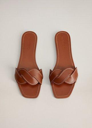Leather braided sandals - Women | Mango USA brown
