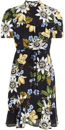 Anne Floral-print Silk Crepe De Chine Dress