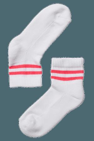 white red stripe socks