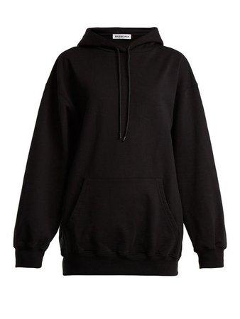 BALENCIAGA Logo-print cotton hooded sweatshirt.