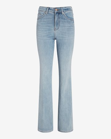 Hight Waisted Light Wash Supersoft Flare Jean   Express