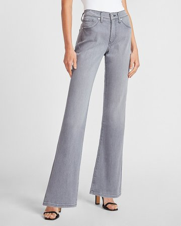 Mid Rise Gray Bootcut Jeans